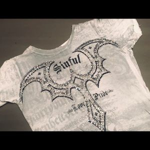 Beautiful Jeweled Sinful by Affliction T Shirt